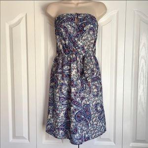 Monteau Strapless Blue Paisley Print Dress